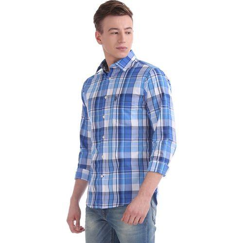 U.S. Polo Assn Men's Checkered Casual Blue Shirt