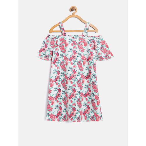 Nauti Nati Girls Sea Green & Pink Floral Print A-Line Dress