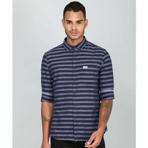U.S. Polo Assn Men Striped Casual Blue Shirt