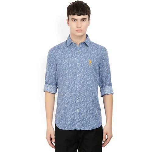 U.S. Polo Assn Men's Printed Casual Blue Shirt