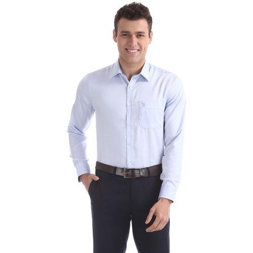 U.S. Polo Assn. Men Self Design Formal Blue Shirt