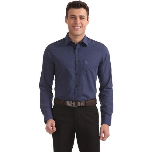 U.S. Polo Assn. Men's Solid Formal Dark Blue Shirt