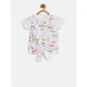 Nauti Nati Girls White & Pink Printed Top