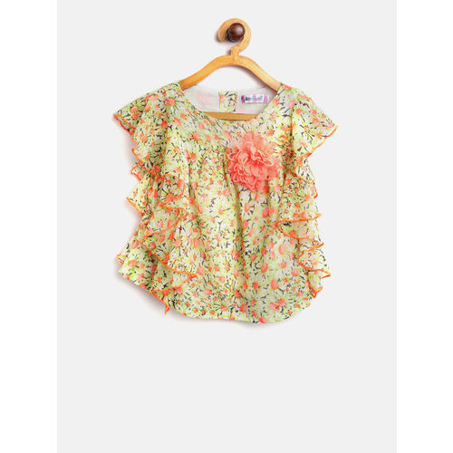 Nauti Nati Girls Green & Pink Printed Top