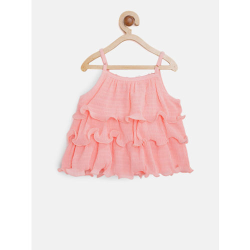 Nauti Nati Girls Peach-Coloured & Off-White Ruffled Top with Shorts