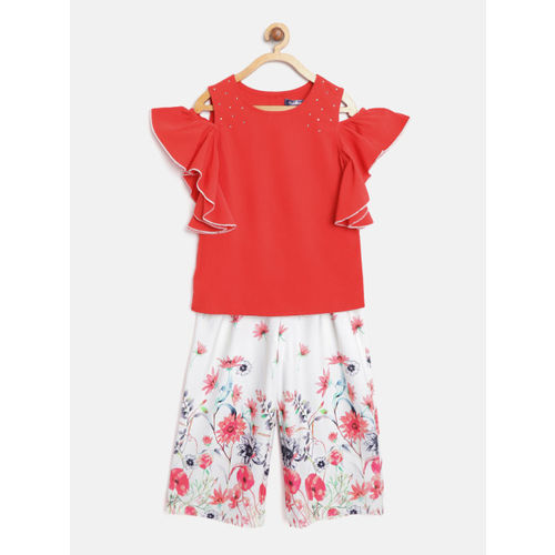 Nauti Nati Girls Red & White Solid Top with Palazzos