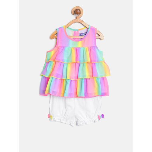Nauti Nati Girls Pink & White Dyed Top with Shorts