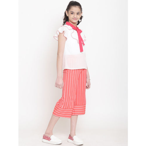 Nauti Nati Girls White & Coral Pink Solid Top with Striped Capris