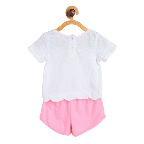 Nauti Nati Girls White & Pink Embellished Top with Shorts