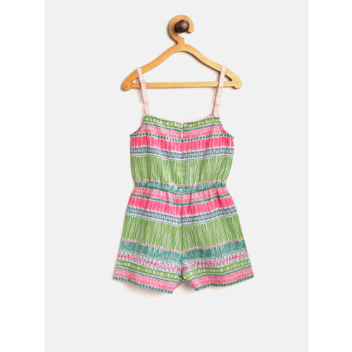 Nauti Nati Girls Pink & Green Printed Playsuit