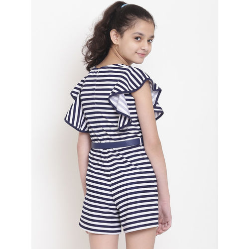 Nauti Nati Girls White & Navy Blue Striped Playsuit
