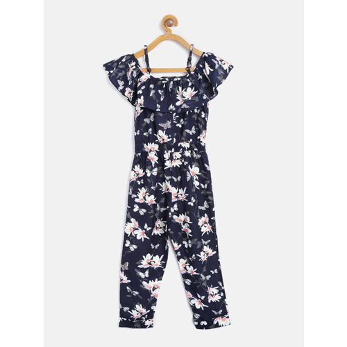Nauti Nati Girls Navy & Off-White Floral Basic Jumpsuit