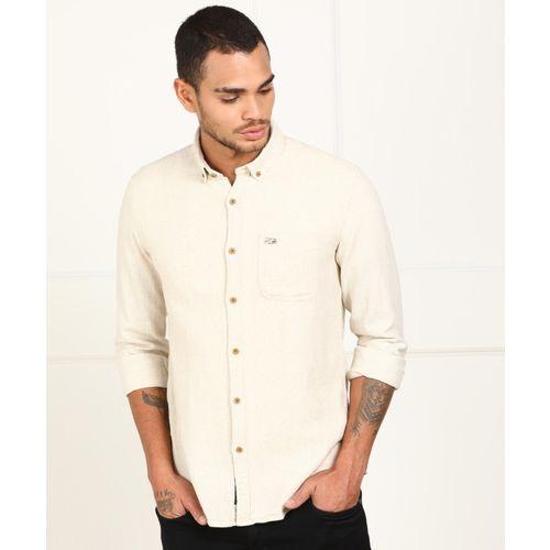 U.S. Polo Assn Men Self Design Casual Beige Shirt