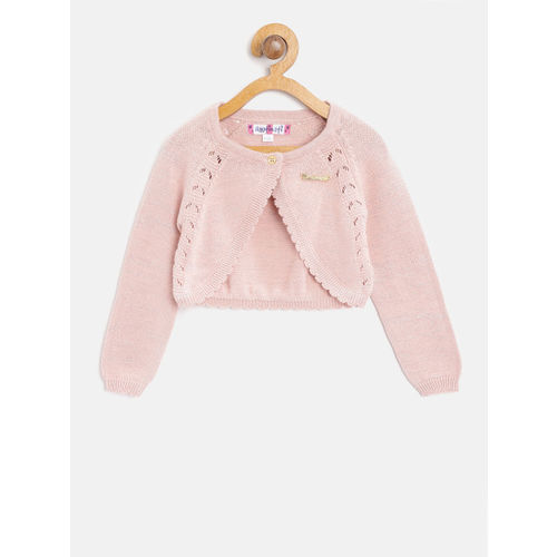 Nauti Nati Pink Solid Shrug with Knitted Pattern