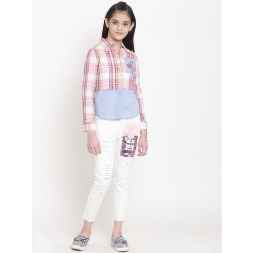 Nauti Nati Girls Pink & Blue Regular Fit Checked Casual Shirt