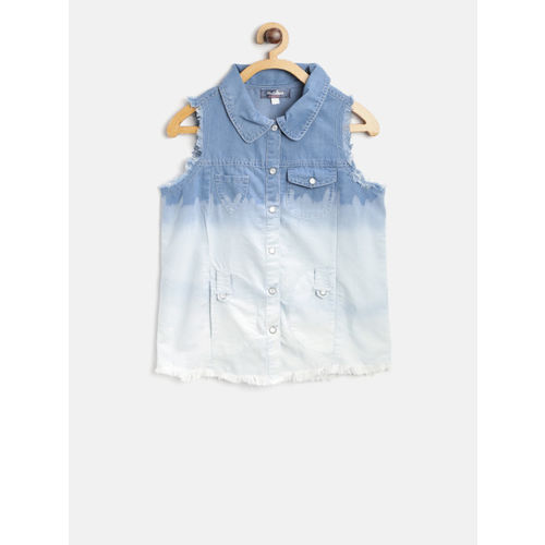 Nauti Nati Girls Blue Regular Fit Ombre Dyed Casual Shirt