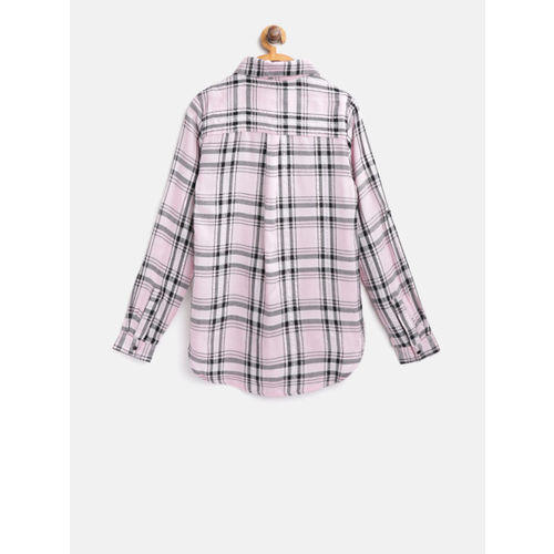 Nauti Nati Girls Pink & Black Regular Fit Checked High-Low Casual Shirt