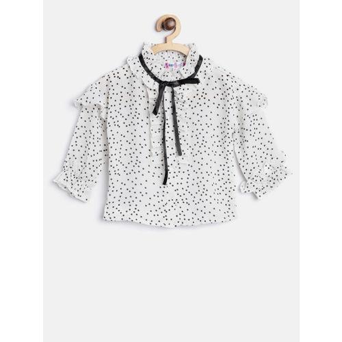 Nauti Nati Girls Off-White & Black Regular Fit Printed Casual Shirt
