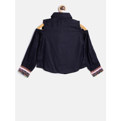 Nauti Nati Girls Navy Blue Embroidered Detail Cold Shoulder Shirt