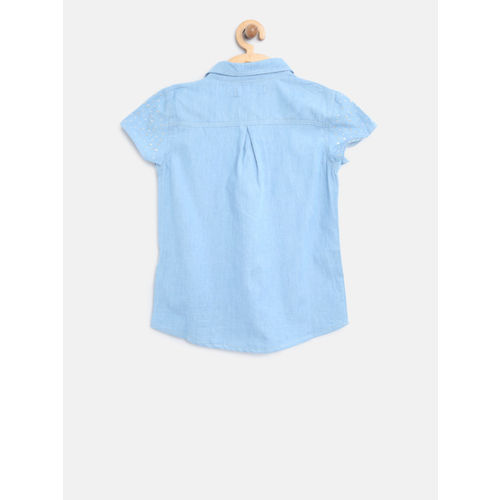 Nauti Nati Girls Blue Solid Chambray Shirt