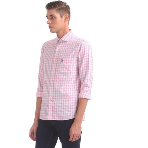 U.S. Polo Assn Men's Checkered Casual Pink Shirt