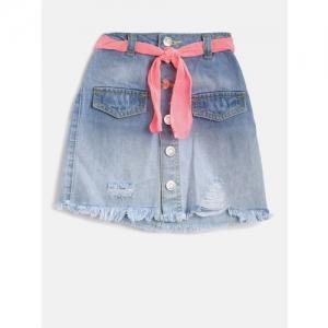 Nauti Nati Girls Blue Washed Denim Skirt with Belt