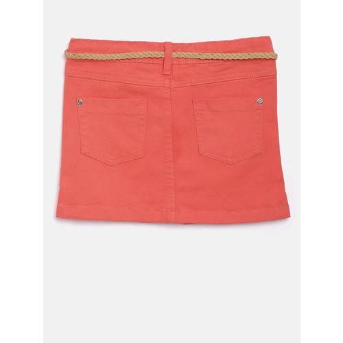 Nauti Nati Girls Coral Orange Straight Denim Skirt
