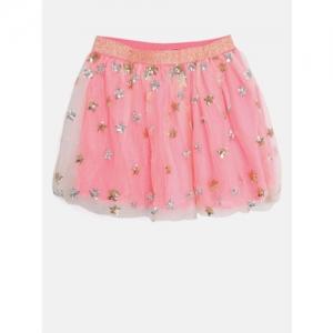 Nauti Nati Girls Pink Sequinned Flared Skirt