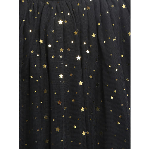 Nauti Nati Girls Black & Golden Net Embellished Flared Skirt