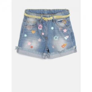 Nauti Nati Girls Blue Washed Regular Fit Denim Shorts