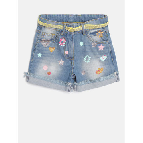 Nauti Nati Girls Blue Washed Regular Fit Denim Shorts