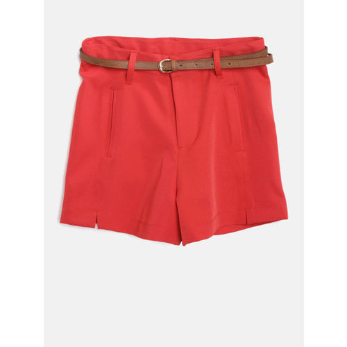 Nauti Nati Girls Red Solid Regular Fit Shorts