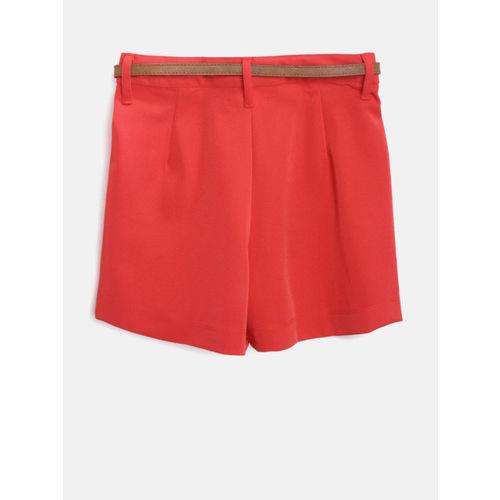 Nauti Nati Girls Red Solid Regular Fit Shorts