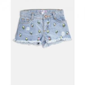 Nauti Nati  Blue Embroidered Regular Fit Denim Shorts