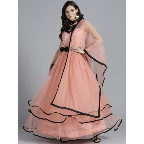 Chhabra 555 Women Peach-Coloured Made to Measure Anarkali Kurta With Dupatta