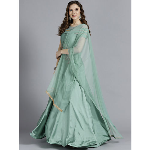 Chhabra 555 Women Sea Green Made to Measure Anarkali Kurta With Dupatta