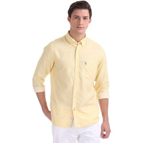 U.S. Polo Assn Men's Solid Casual Yellow Shirt