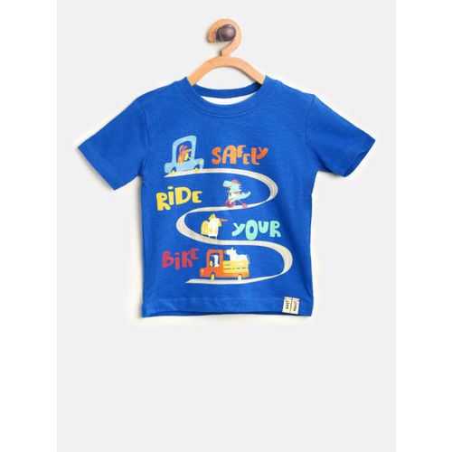 Nauti Nati Boys Blue Printed Round Neck T-shirt