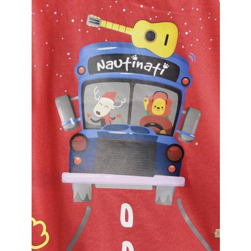 Nauti Nati Boys Red Printed Round Neck T-shirt