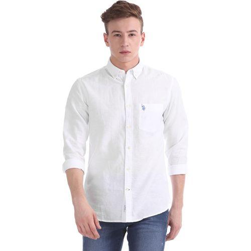 U.S. Polo Assn Men's Solid Casual White Shirt