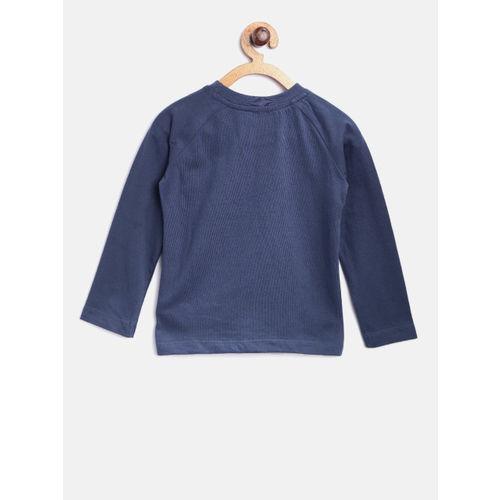 Nauti Nati Boys Navy Blue Printed T-shirt