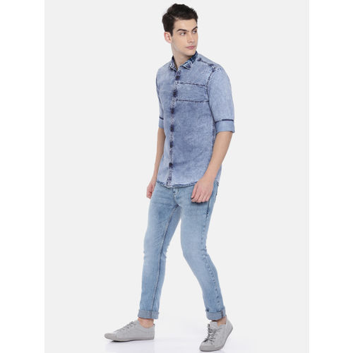 Nature Casuals Men Blue Slim Fit Faded Casual Chambray Shirt
