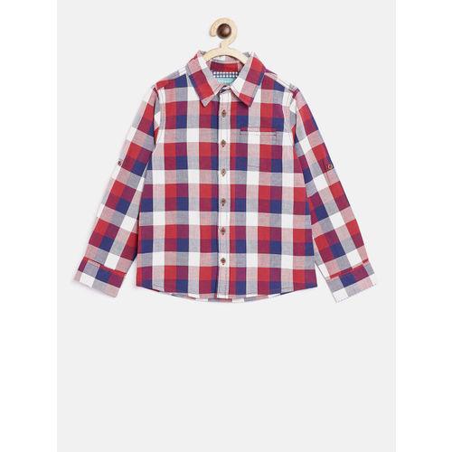 Nauti Nati Boys Red & Navy Blue Regular Fit Checked Casual Shirt