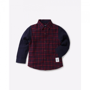 Nauti Nati Boys Navy & Maroon Regular Fit Checked Casual Shirt