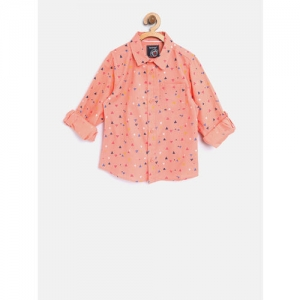 Nauti Nati Boys Coral Orange Regular Fit Printed Casual Shirt
