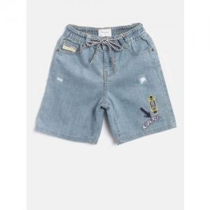 Nauti Nati Boys Blue Solid Regular Fit Denim Shorts