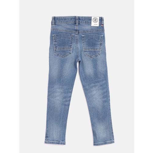 Nauti Nati Boys Navy Blue Regular Fit Mid-Rise Mildly Distressed Stretchable Jeans