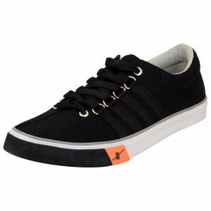 Sparx 162 Black Lace Up Canvas Sneakers