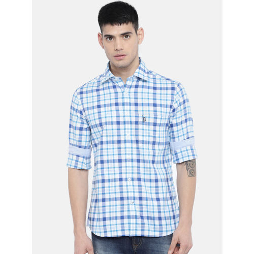 U.S. Polo Assn. Men Blue & White Tailored Fit Checked Casual Shirt