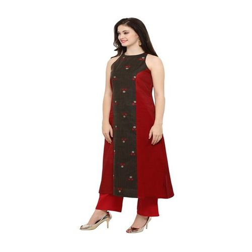 Inddus Red & Brown Floral Print Straight Kurti